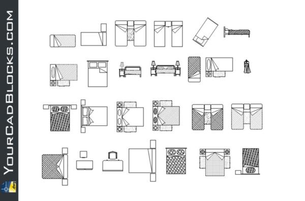 Accessories bedrooms DWG beds