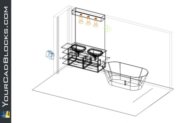 Bathroom, tub and sink dwg cad blocks