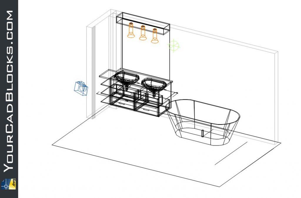 Bathroom, tub and sink dwg cad blocks