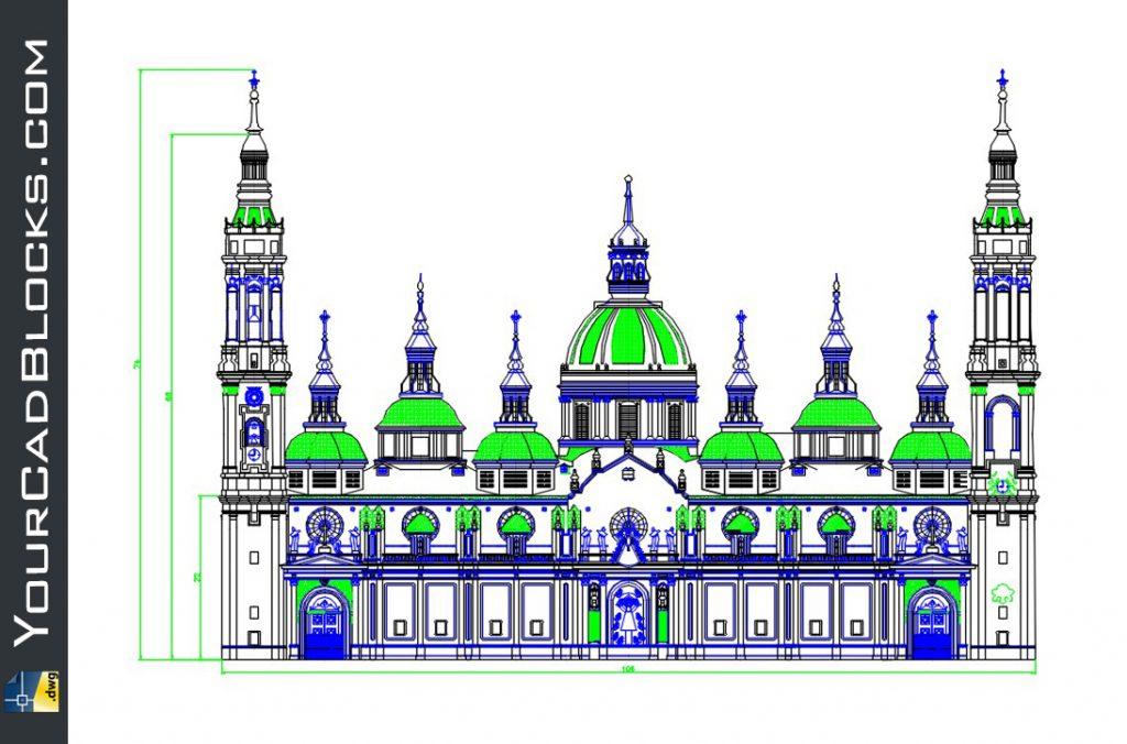 Fachada de iglesia dwg