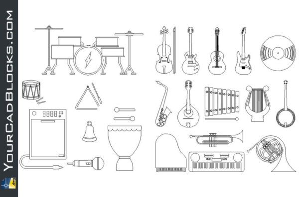 Music instruments dwg