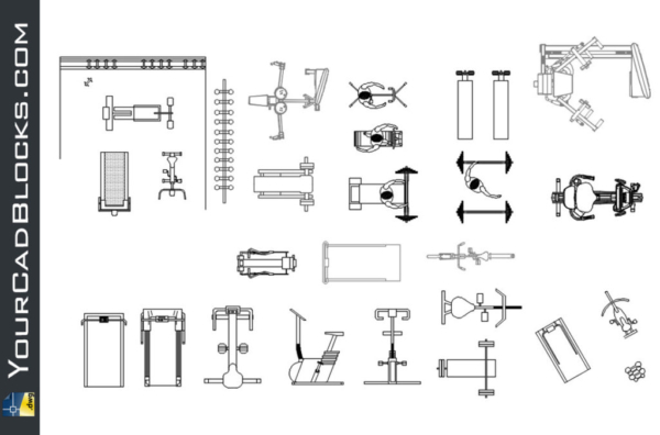 Gym machines dwg autocad