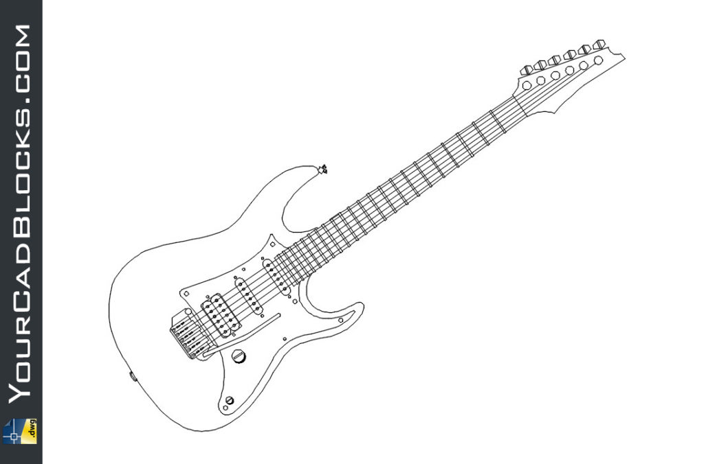 Electric guitar dwg cad