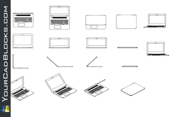 Laptops 2D Free in Autocad