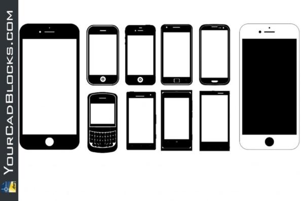 Mobile Phones dwg cad blocks in Autocad